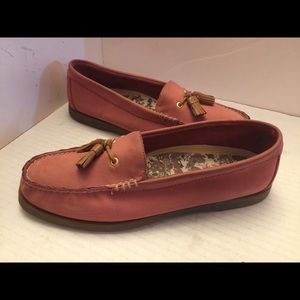 Pink leather Sperry Topsider loafers with tassels